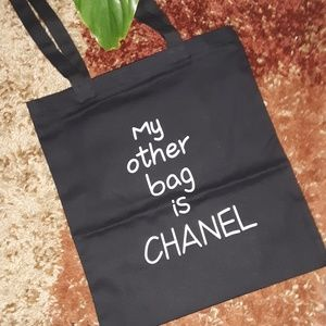 "Nwt.NOVELTY CANVAS ""OTHER BAG IS CHANEL"""